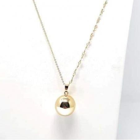 Bola de grossesse lisse Anaïs - montée sur chaine or semi-perlée avec cristal noir