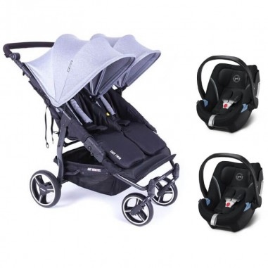 Pack Poussette Double Easy Twin 3S Light Châssis Black Baby Monsters + Coques Aton 5 Cybex Baby Monsters - 1