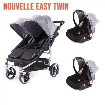 Pack Poussette Nouvelle Easy Twin 3S Light Silver Réversible + 2 Coques Luna Baby Monsters