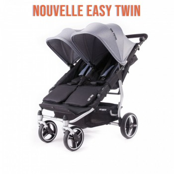 Nouvelle Easy Twin 3S Light Silver Poussette Double Réversible + Habillage Pluie Baby Monsters