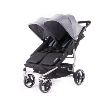 Easy Twin 3S Light Silver Poussette Double Réversible + Habillage Pluie Baby Monsters